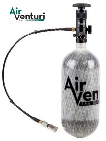 "Air Venturi 88 cu-in Carbon Fiber Tank with EZ Valve  - 4,500 psi max fill pressure  - 88 cubic inches (15.8 cubic feet)  - 15"" tall  - 4.5"" diameter  - EZ Valve  - Valve is unregulated  - Slow flow valve  - Grey  - Includes fill device with high-pressure"