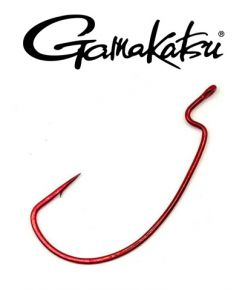 Gamakatsu Red Worm Hooks Offeset Shank EWG Red